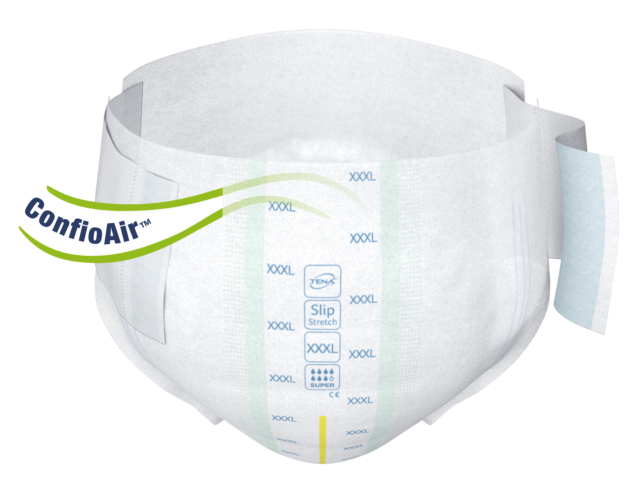 Sur ces palliatifs bariatriques, des fronces élastiques aux cuisses permettent d'obtenir un ajustement de près, d'accroître la protection contre les fuites et d'ajouter en confort.